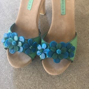 Marc Jacobs Light Green & Turquoise Flower Heel
